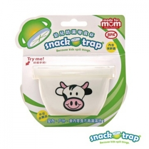 美國【Snack-Trap】幼兒防漏零食杯+蓋 (白底乳牛)