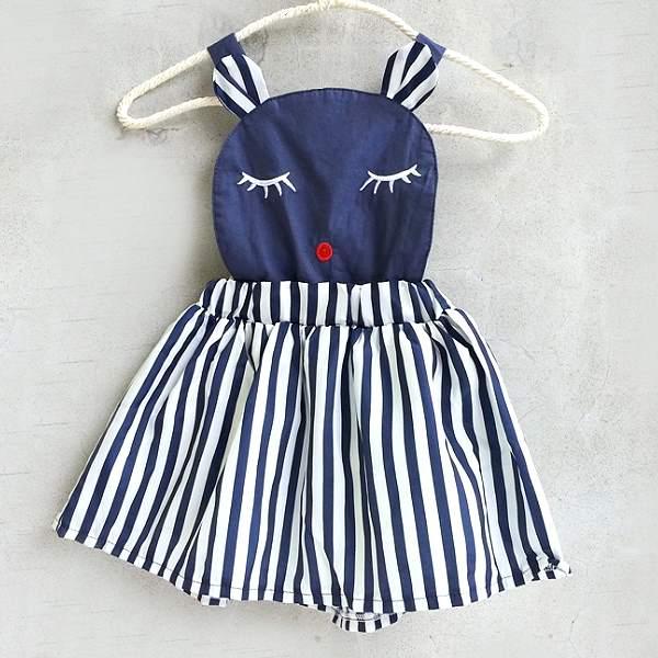 【班比納精品童裝】晚安熊直條紋吊帶裙-藍白【BO150622052】