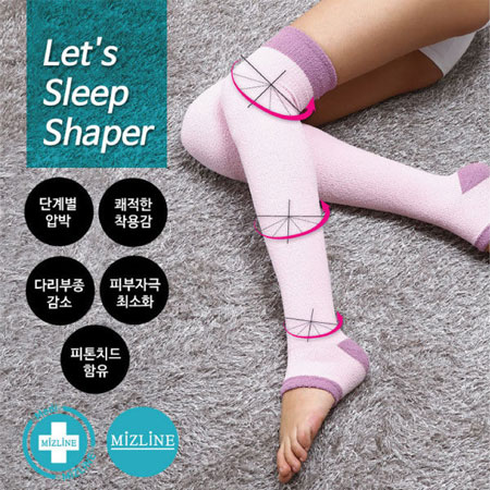 韓國 MIZLINE 睡眠舒壓塑腿襪(1件入) L13 睡眠專用 睡眠美腿襪 階段式美腿減壓機能襪【B061706】