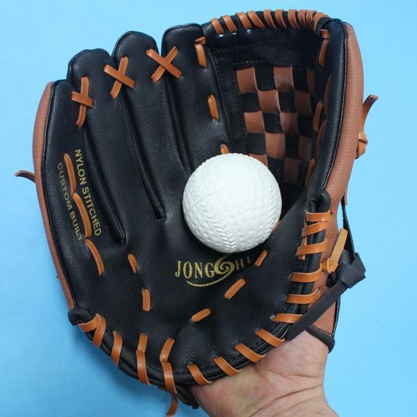 11吋合成皮棒球手套(反手) + 軟式安全棒球(國小.國中適用)/一組入{促350}~手套戴右手.左拐子專用