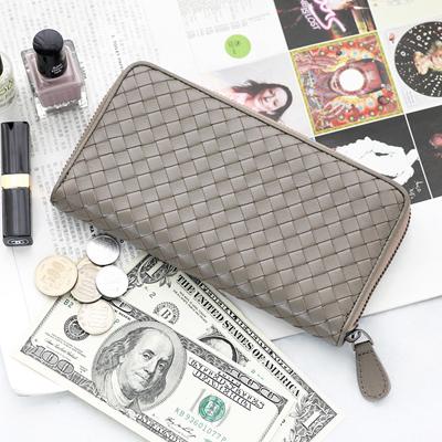 D&M 韓國頂級手工小羊皮編織拉鍊長夾真皮錢包皮夾護照手機包bv款【 B03014】