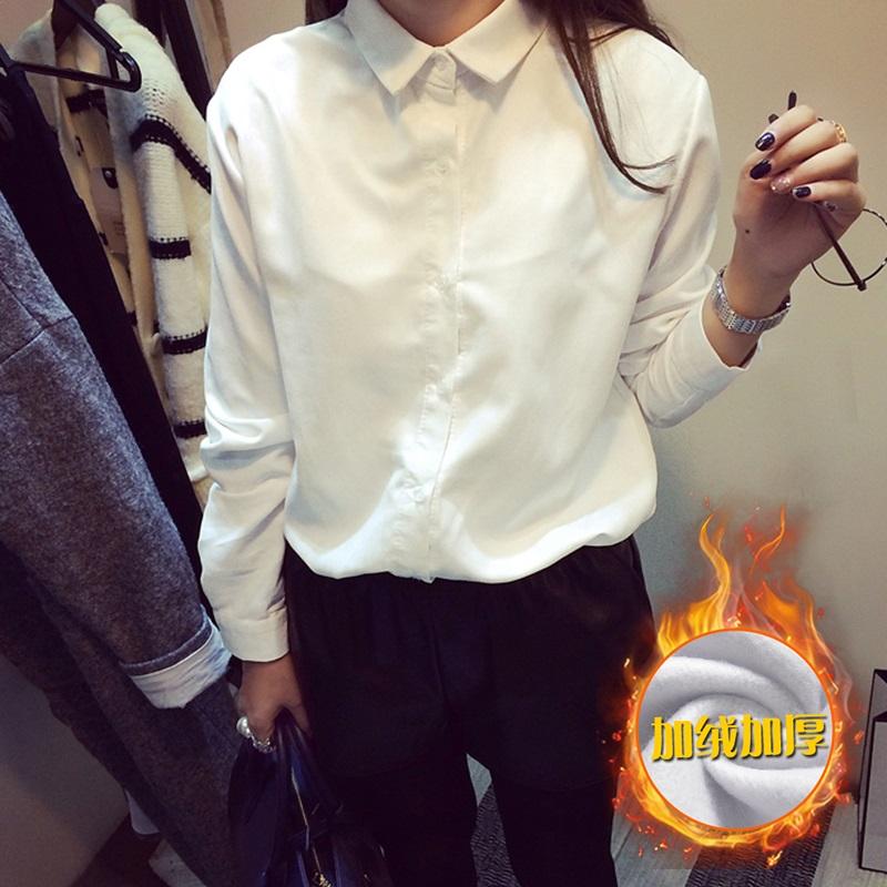 PS Mall 韓國寬鬆純色長袖打底加絨襯衫上衣【T4272】