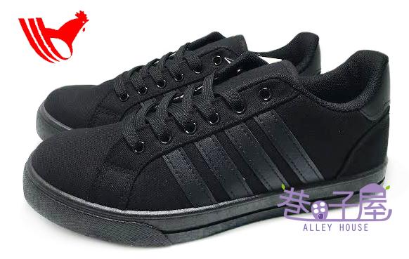 【巷子屋】ROOSTER公雞 男款素面帆布運動休閒鞋 [1070] 黑 MIT台灣製造 超值價$398