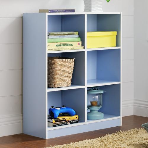 【尚優家居】芙蕾雅六格櫃/書櫃/置物櫃/收納櫃(藍色)