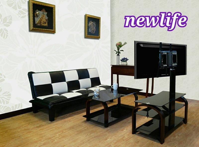 【新生活家具】 茶几 電視架 沙發床 黑色 強化玻璃 液晶電視壁掛架 非 H&D ikea 宜家