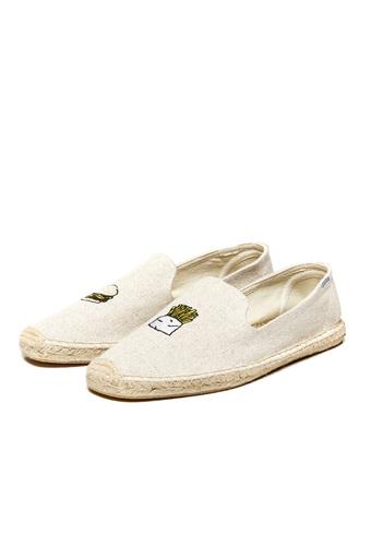 【Soludos】美國經典草編鞋-塗鴉系列草編鞋-漢堡薯條/米色