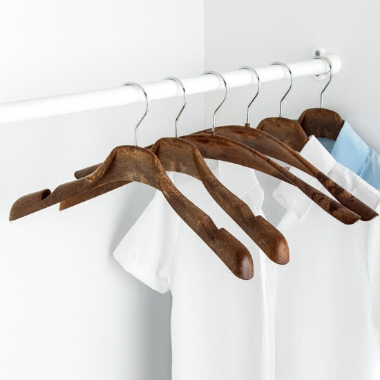♚MY COLOR♚仿木紋復古款衣架 男女 寬肩 衣撐 外套 大衣 懸掛 晾曬 衣櫃 質感 【J147】
