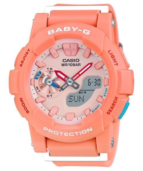 CASIO BABY-G BGA-185-4A衝浪滑板雙顯流行腕錶/橘色44mm
