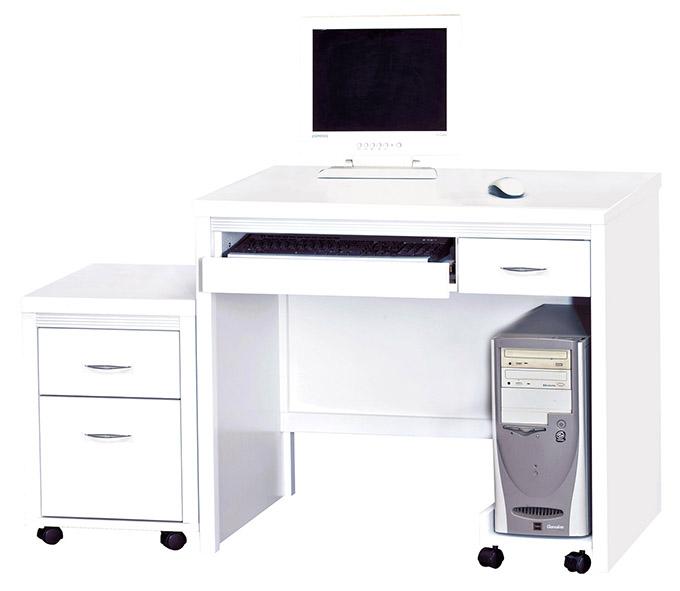 【尚品傢俱】HY-A483-09 艾拉白色3尺電腦桌組(含活動櫃+主機架)