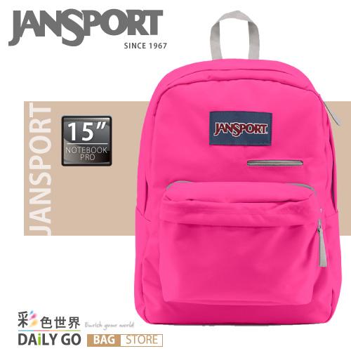 「JANSPORT」後背包 平板電腦背包 書包-螢光粉紅
