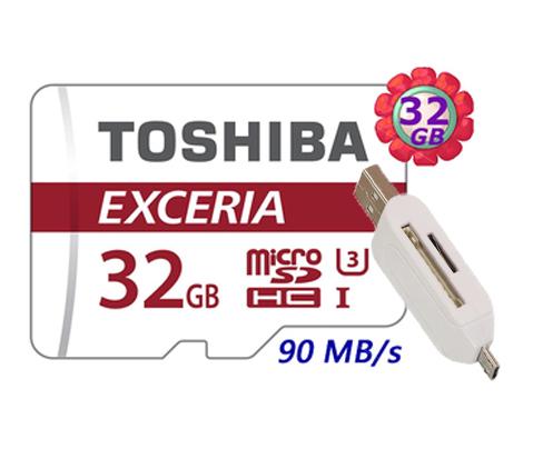 附 T05 OTG 讀卡機 TOSHIBA 32GB 32G microSDHC【90MB/s】EXCERIA micro SD microSD SDHC UHS UHS-3 C10 Class 10 原廠包裝 手機記憶卡