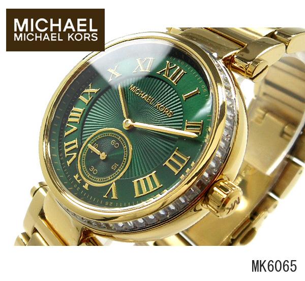美國Outlet正品代購 MichaelKors MK 復古羅馬鑲鑽馬腦綠  陶瓷  三環 手錶 腕錶 MK6065