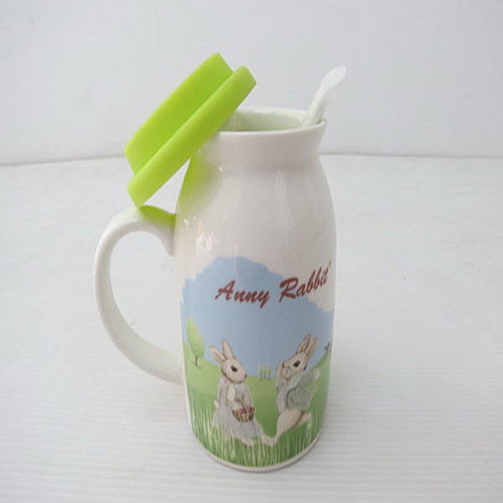 ☆︵興雲網購︵☆【3080】安妮兔牛奶蓋杯三件套 杯子 陶瓷杯 牛奶杯 保溫杯 沖泡杯