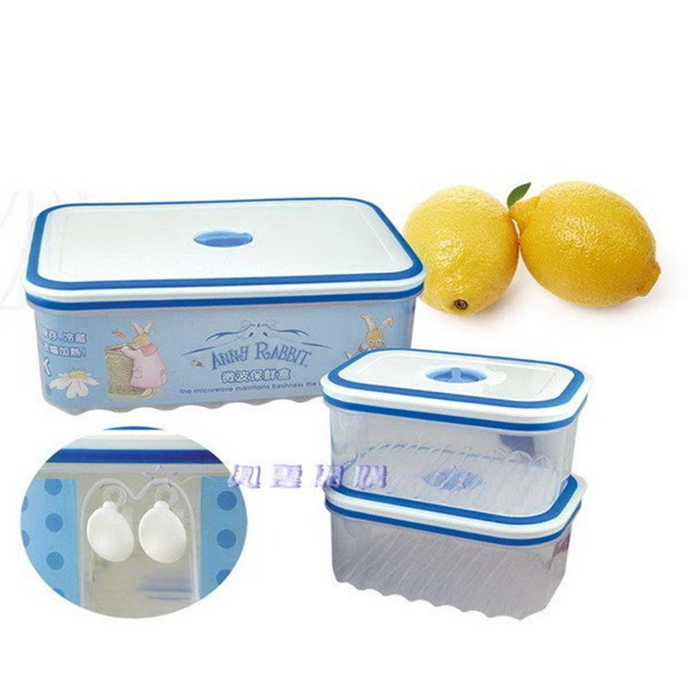 ☆︵興雲網購︵☆【4011】安妮兔智慧眼3入保鮮盒-藍(盒裝)儲物盒收納盒水果盒野餐盒 保鮮