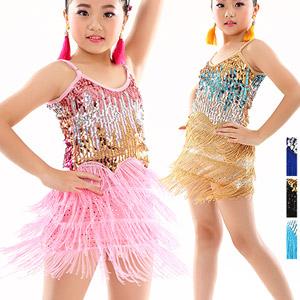 女童流蘇亮片拉丁舞裙(兒童拉丁裙拉丁舞服拉丁舞衣服拉丁舞演出服裝.舞蹈服舞蹈裙連衣裙國標舞衣跳舞表演服裝.無袖練功裙表演比賽規定服練習服套裝.專賣店特賣會便宜推薦哪裡買)E331-P0073