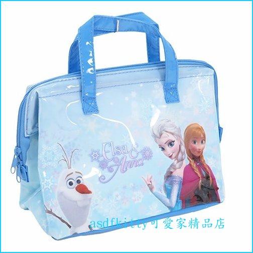 asdfkitty可愛家☆冰雪奇緣寬口拉鍊輕量保溫便當袋/手提袋/購物袋-也可保冷-外層防水材質-日本正版商品