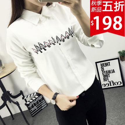 ❤原價396五折198❤ 小蘑菇刺繡長袖襯衫  超可愛小蘑菇  秋天單穿  冬天內搭  一衣多穿【GF901S3EI】