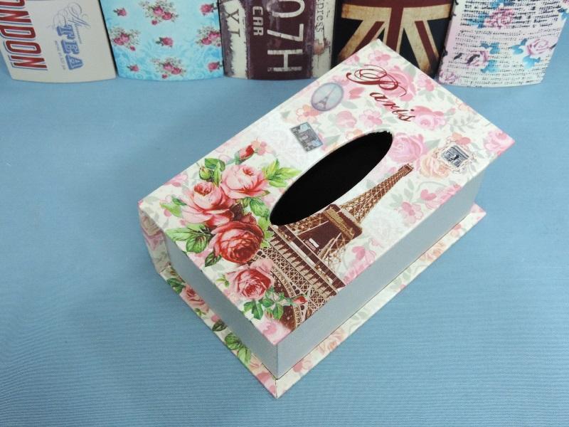 ◤彩虹森林◥《玫瑰鐵塔》 書本造型面紙盒 木製貼皮面紙盒 磁扣式 收納盒 發票桶 鄉村面紙盒