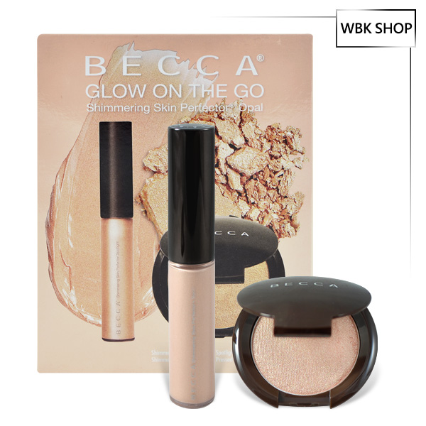 Becca 兩件組 無瑕光燦提亮餅 #Opal 5g+ 唇蜜2.4g Glow on the go-Opal+Lip - WBK SHOP