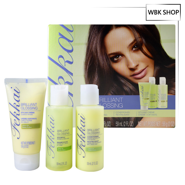Frederic Fekkai 光澤亮彩橄欖三入旅行組(洗.潤.護髮) Brilliant Glossing Starter Kit (Shampoo Conditioner Styling Cream) - WBK SHOP
