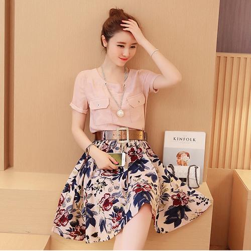 YJY韓國氣質棉麻兩件式花裙套裝[Y319]-2色