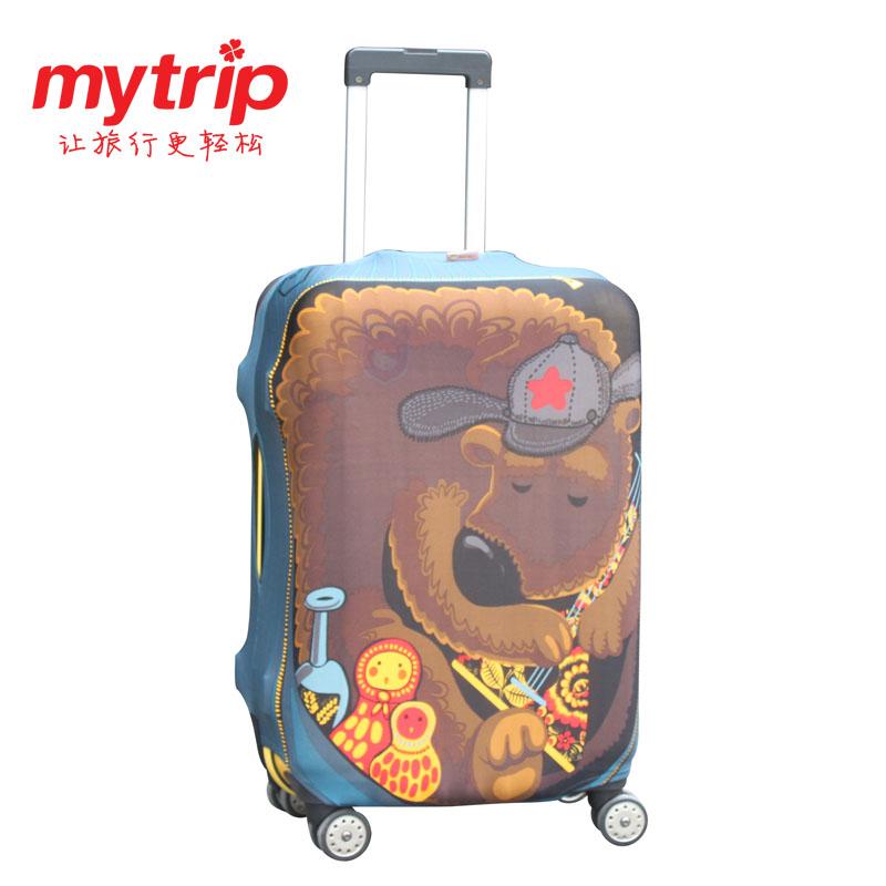 (生活科技)行李箱套/行李套防塵/旅行箱防塵袋 旅行箱套防刮 (小熊 S/M/L)