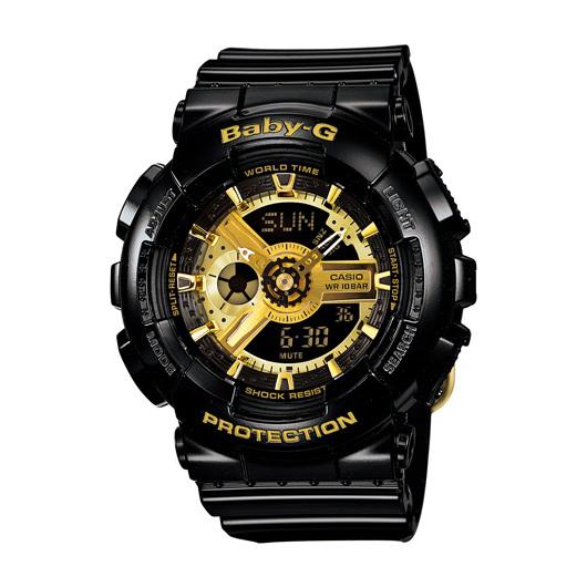 CASIO BABY-G BA-110-1A個性黑金少女雙顯流行腕錶/黑面43.4mm