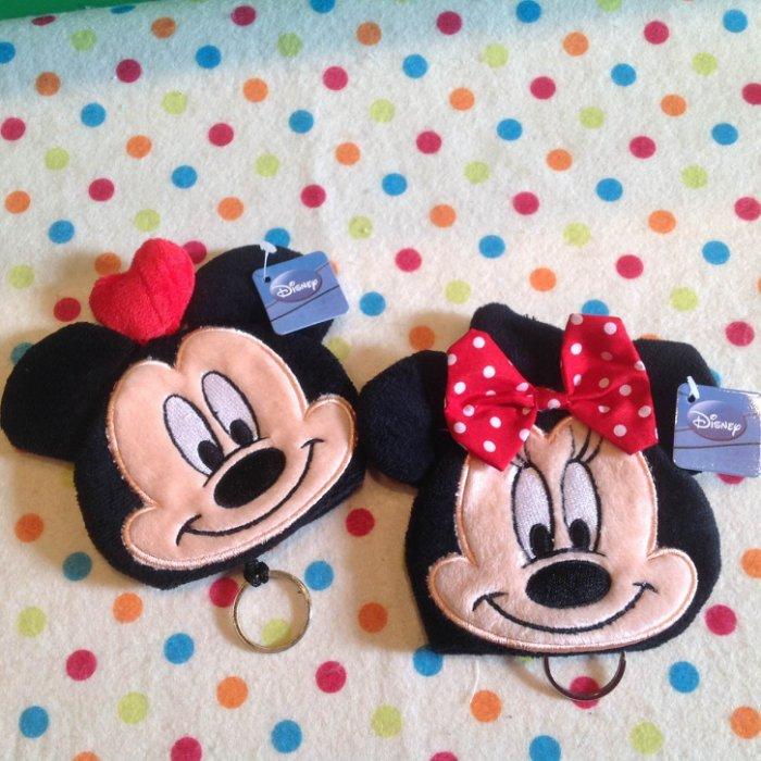 =優生活=迪士尼 米奇 米妮 卡通毛絨鑰匙包 零錢包 二合一多功能 收納包 鑰匙扣 生日禮物 交換禮物