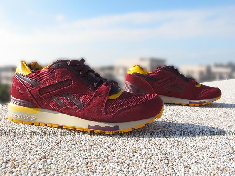 Shoestw【V62851】Reebok 復古慢跑鞋 GL6000 酒紅黃 楓葉 麂皮