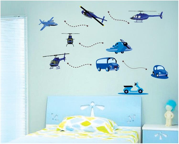 【壁貼王國】卡通系列無痕壁貼 《藍色直升機 - AY7027》