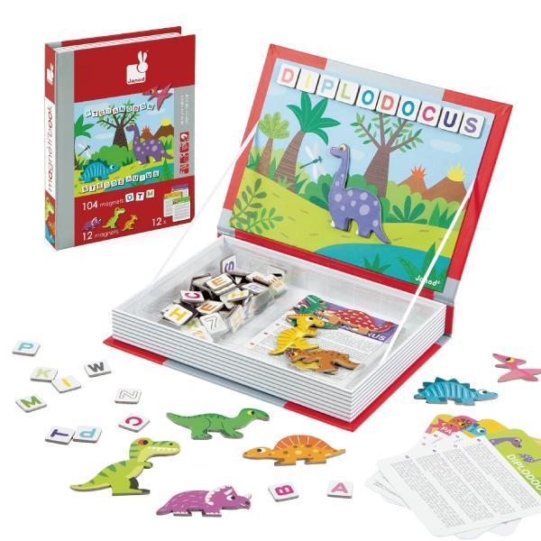 【法國 Janod】磁鐵遊戲書-恐龍拼字