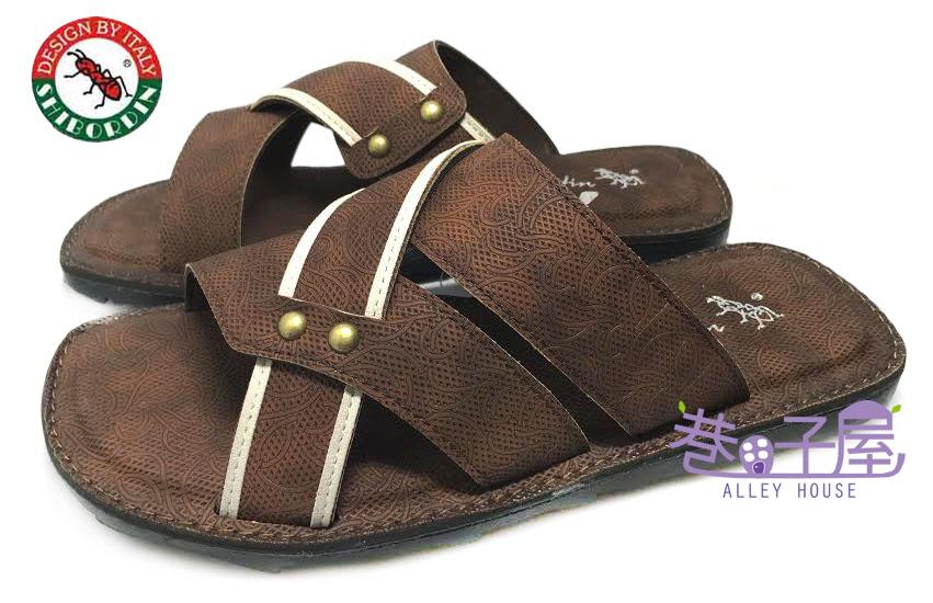 【巷子屋】SHIBORDIN喜伯登 紅螞蟻 男款釘釦造型休閒拖鞋 [1100544] 棕 台灣製造 超值價$198