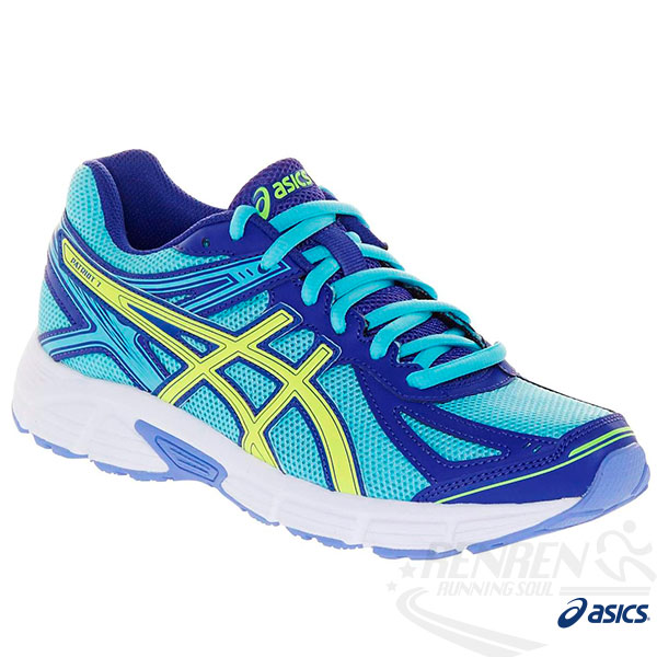 ASICS亞瑟士 女慢跑鞋 (藍*粉藍*黃)  PATRIOT 7 健康慢跑鞋