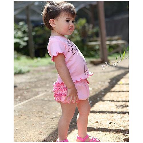 【HELLA 媽咪寶貝】美國 RuffleButts 小女生荷葉包屁褲/屁屁褲_粉紅 Knit (RBRBK01)