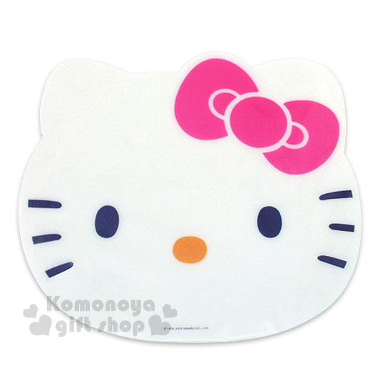 〔小禮堂〕Hello Kitty 造型桌墊《白.大臉.粉蝴蝶結》餐墊.37x33cm