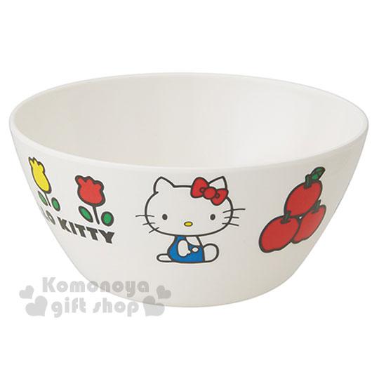〔小禮堂〕Hello Kitty 美耐皿碗《白.側坐.蘋果.鬱金香》70年代系列