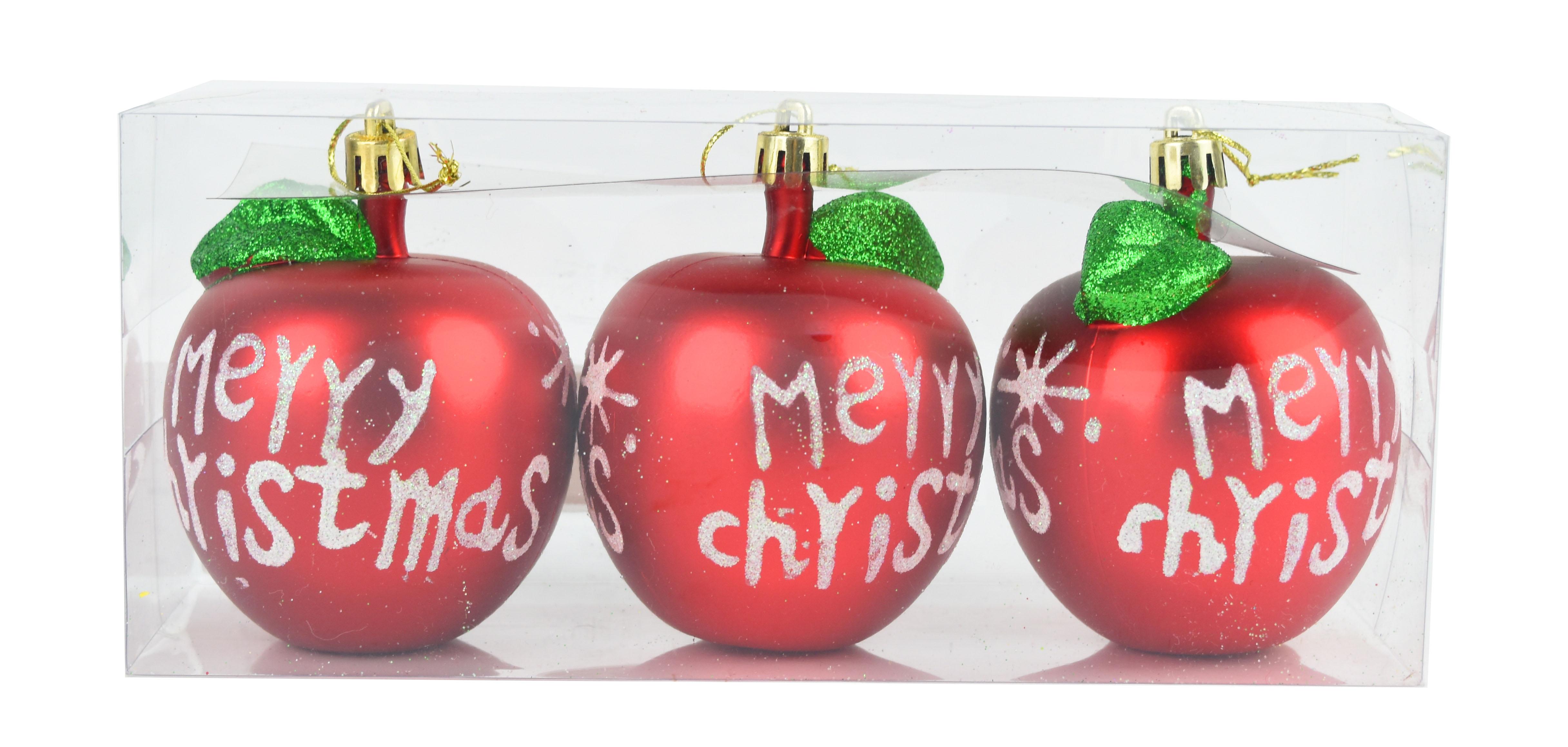 X射線【X299322】8公分蘋果鍍金球(紅)3入,聖誕節/聖誕佈置/聖誕鍍金球/聖誕球/吊飾/會場佈置/DIY/材料包