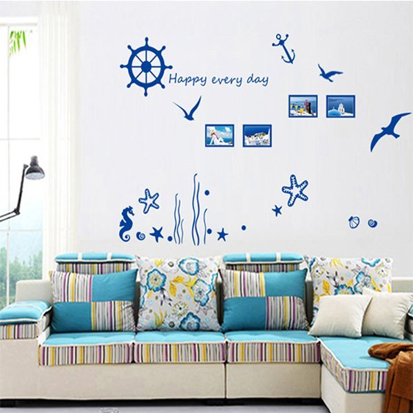 BO雜貨【YV4495】創意可移動壁貼 牆貼 壁貼 背景貼 磁磚貼 時尚組合壁貼 居家裝潢裝飾 藍色海洋世界
