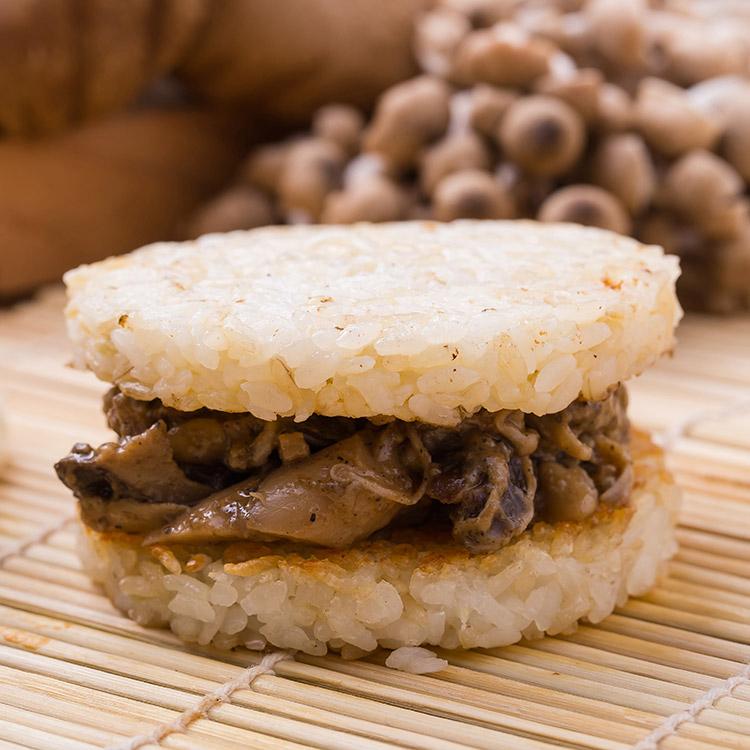 白米素沙茶鮮菇米漢堡。超人氣美食《米漢堡》【尚介香】