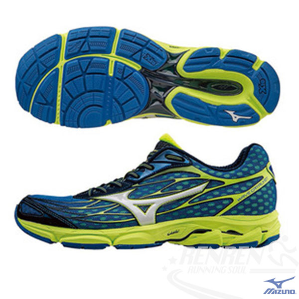 MIZUNO 美津濃 WAVE CATALYST 男慢跑鞋 (藍*銀白*綠) 輕量慢跑