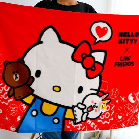 正版 Kitty x LINE 聯名刷毛毯 刷毛保暖毯 毯被 保暖毯 毛毯 嬰兒毯 懶人毯 冷氣毯 毯子 熊大 兔兔【B062206】