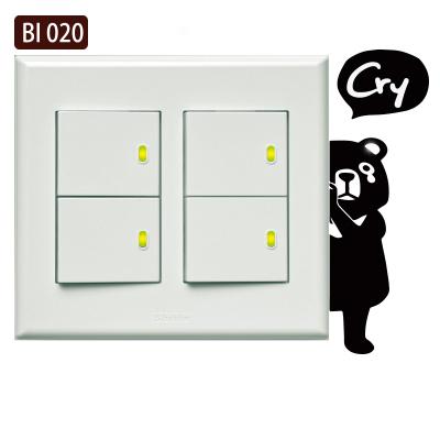 創意時尚無痕環保PVC壁貼牆貼BI020害羞熊貓開關貼防水不傷牆面可重覆撕貼