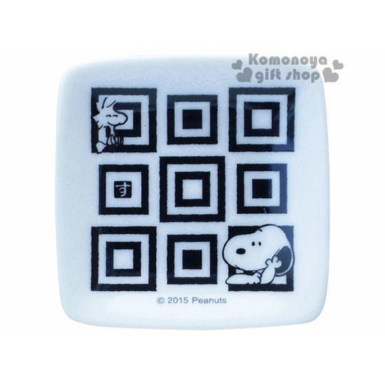 〔小禮堂〕史努比 日製陶瓷迷你小碟子《方形.黑.格子紋.摸臉頰》精緻金正瓷器