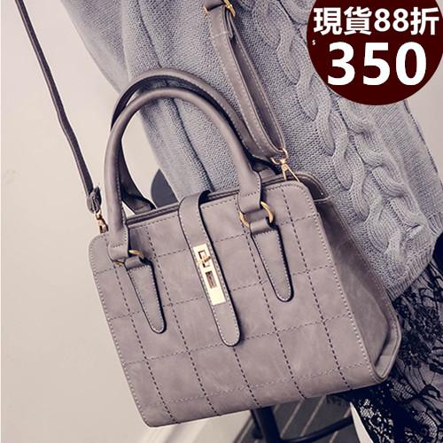 手提包 新款方格線繡轉釦側背斜背手提包 3色(附側背帶) T82801-寶來小舖 Bolai shop-現貨販售