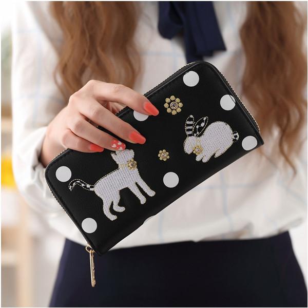 長夾 優雅立體兔子貓咪刺繡長皮夾 手機錢包 5色 923#【寶來小舖】現貨販售