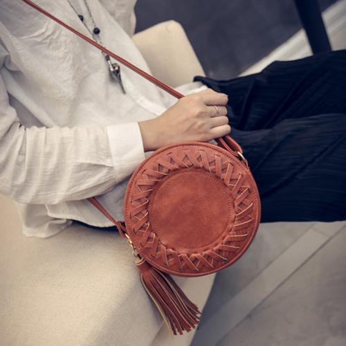 側背包 復古流蘇編織圓形單肩斜背包包-寶來小舖 現貨販售-JB172