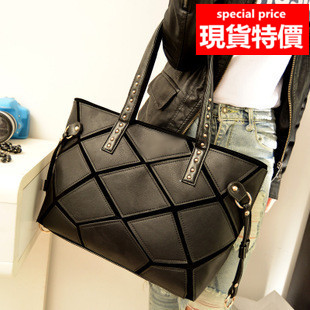 側背包 新款韓版黑白拼接時尚手提包 托特包A8181 /寶來小舖(現貨)