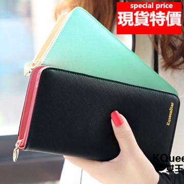 (現貨 附發票)皮夾長夾 簡約素面大容量多卡位拉鍊手機錢包 (KQ820)/寶來小舖(現貨販售)