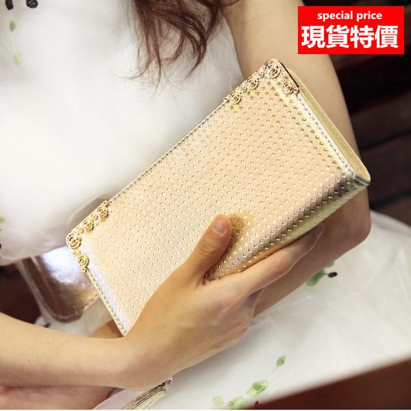 長夾 亮面立體紋路皮夾手拿包(附手腕帶) A853系列【寶來小舖 BOLAI SHOP 】現貨販售