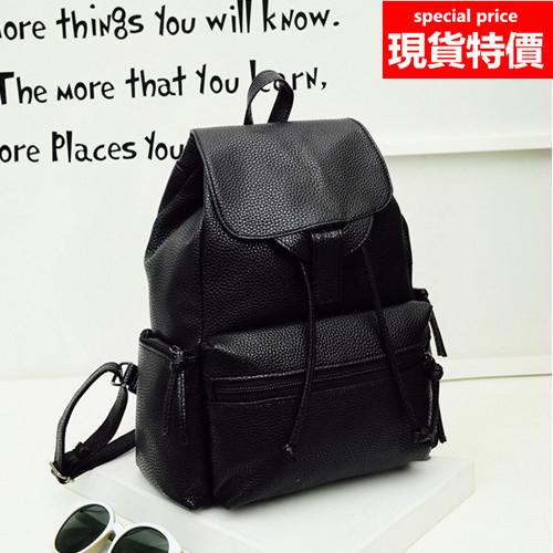 後背包-荔枝紋皮革韓版後背包-黑色-h621-寶來小舖 現貨販售